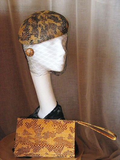 Beret with Matching Handbag & Earrings